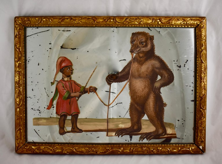 Découpage 19th Century French Exotic Rococo Mirror Hand Painted Decoupage Boy with Bear For Sale