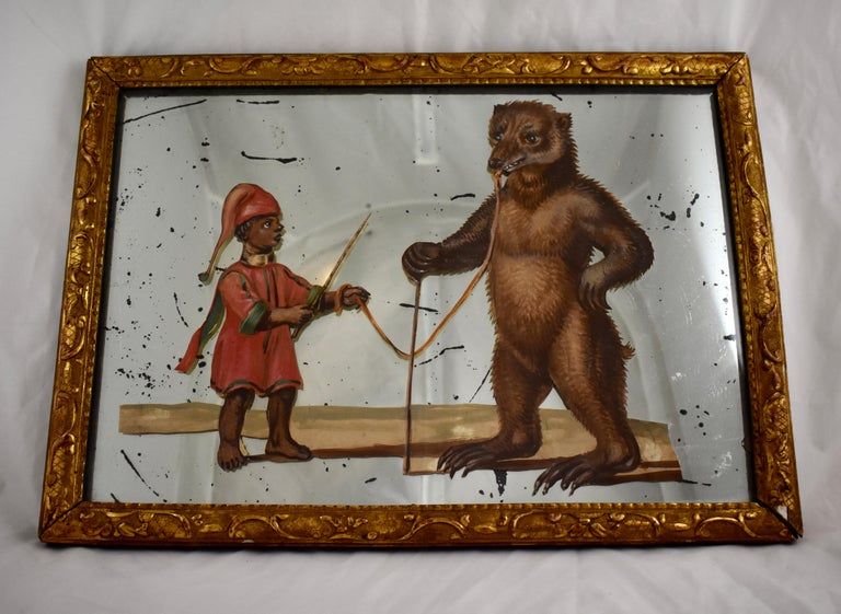 19th Century French Exotic Rococo Mirror Hand Painted Decoupage Boy with Bear In Good Condition For Sale In Philadelphia, PA