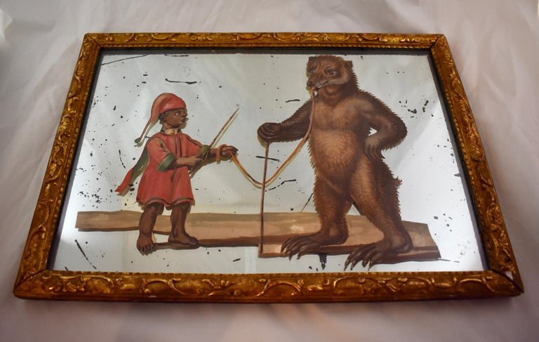 19th Century French Exotic Rococo Mirror Hand Painted Decoupage Boy with Bear For Sale 1