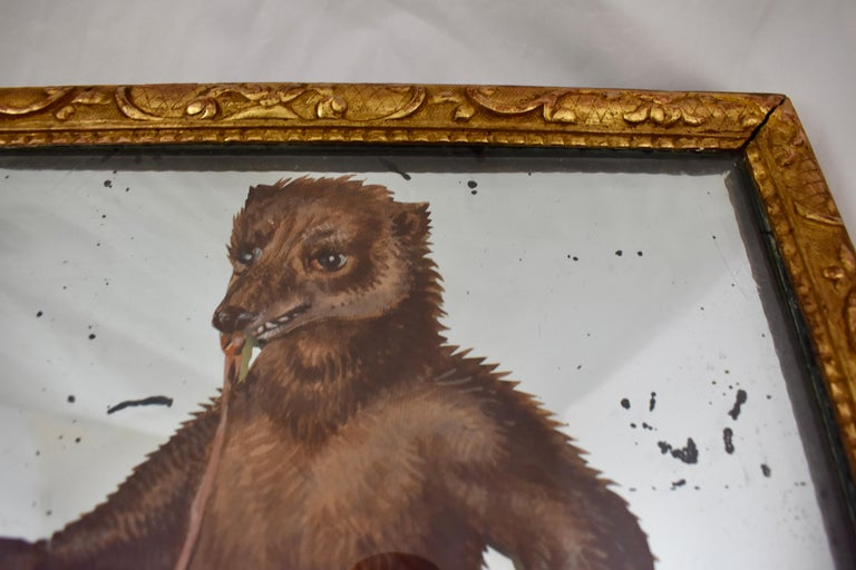 19th Century French Exotic Rococo Mirror Hand Painted Decoupage Boy with Bear For Sale 3