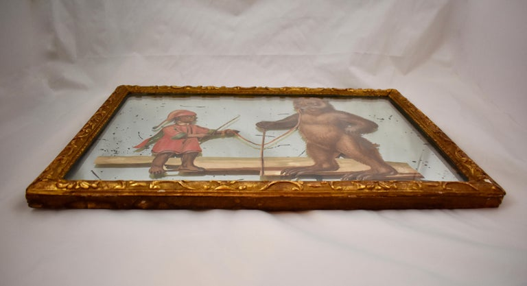 19th Century French Exotic Rococo Mirror Hand Painted Decoupage Boy with Bear For Sale 4
