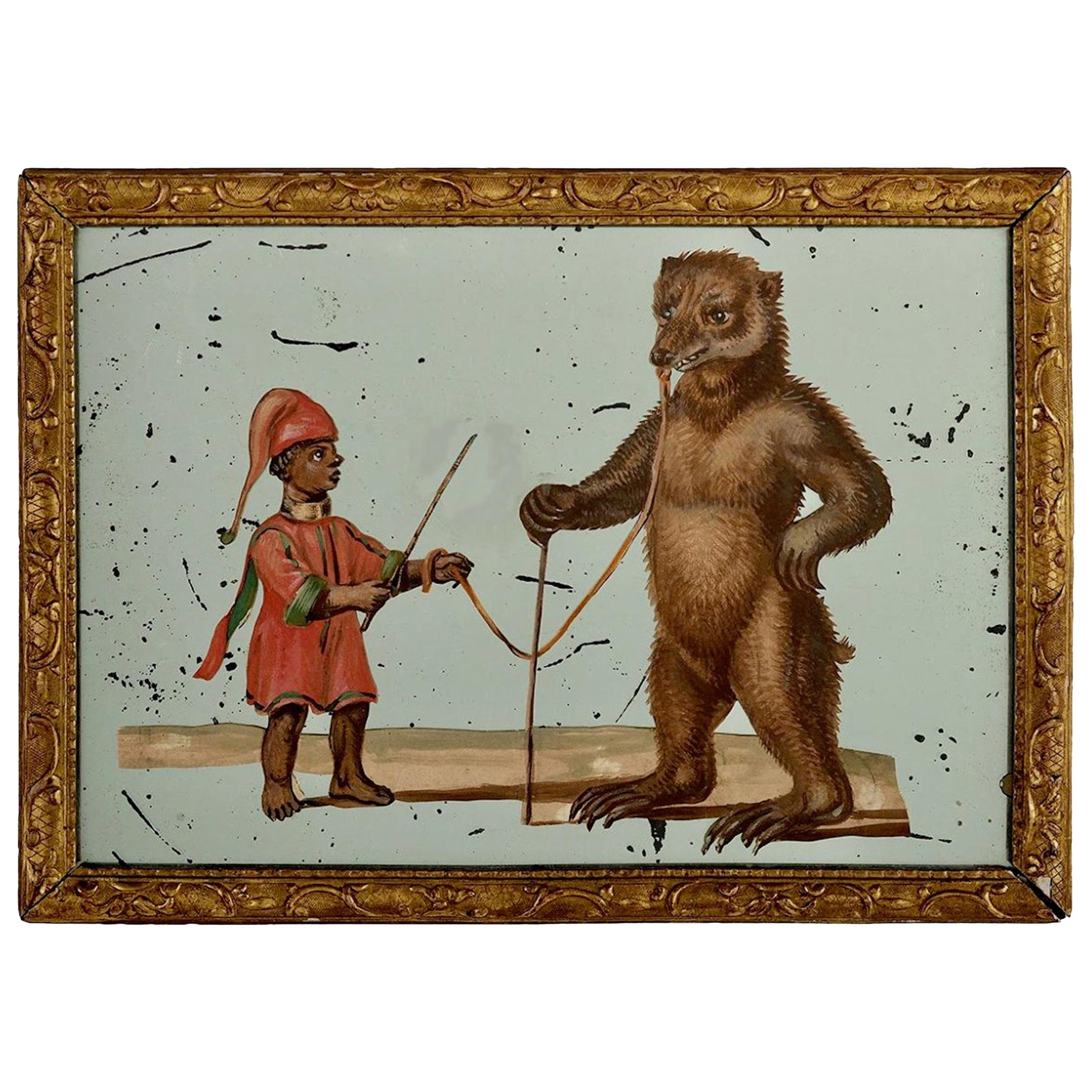 19th Century French Exotic Rococo Mirror Hand Painted Decoupage Boy with Bear