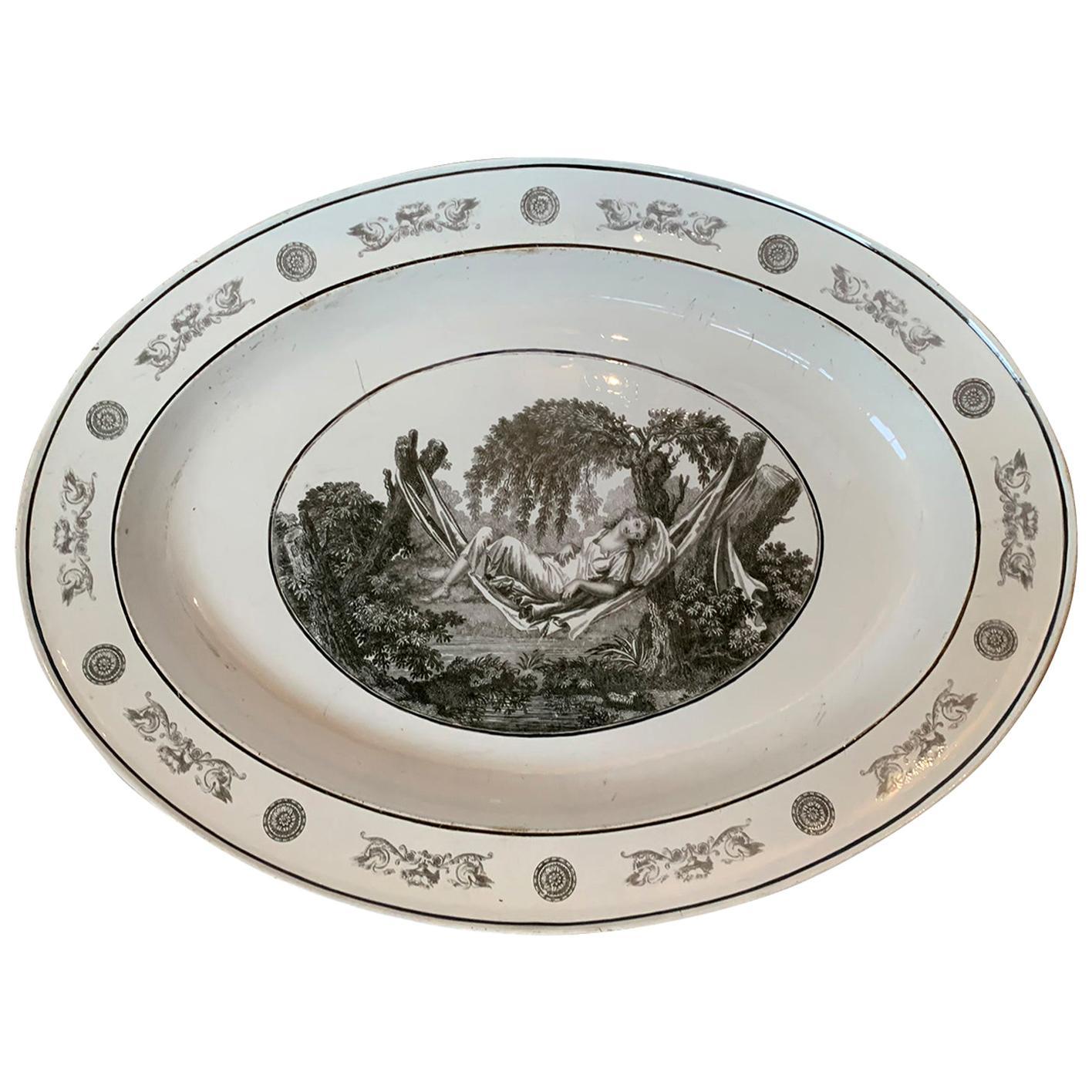 19th Century French Faience Creil-Montereau Glazed Transfer Earthenware Plate
