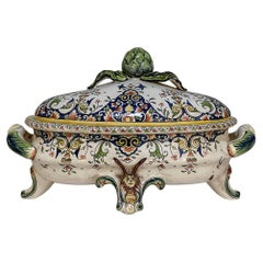 19th Century French Faience Hand-Painted Soup Tureen
