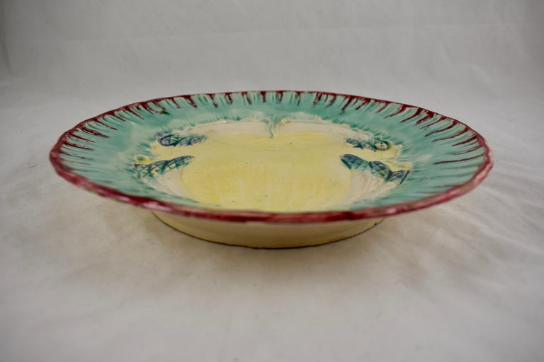 19th Century French Faïence Majolica Glazed Divided Asparagus and Shell Plate For Sale 2
