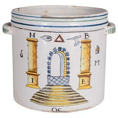 19th Century French Faience Masonic Cachepot