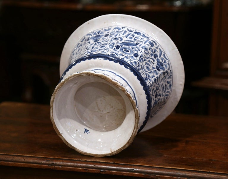 19th Century French Faience Painted Cache Pot with Blue and White Floral Decor In Excellent Condition For Sale In Dallas, TX