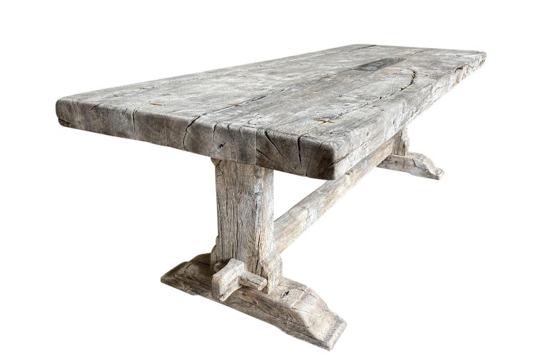 19th Century French Farm Table, Trestle Table In Good Condition For Sale In Atlanta, GA