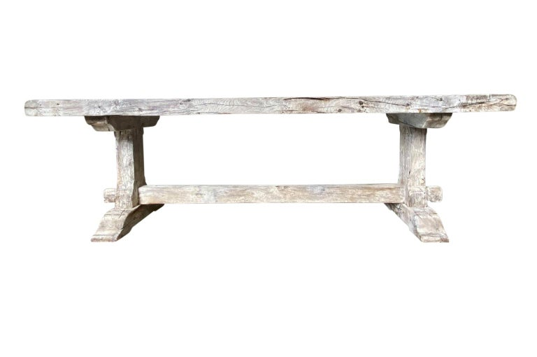 Oak 19th Century French Farm Table, Trestle Table For Sale