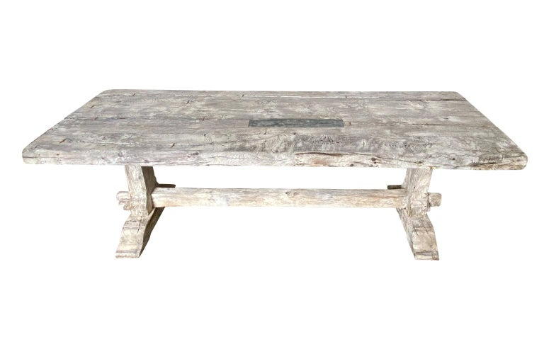 19th Century French Farm Table, Trestle Table For Sale 1
