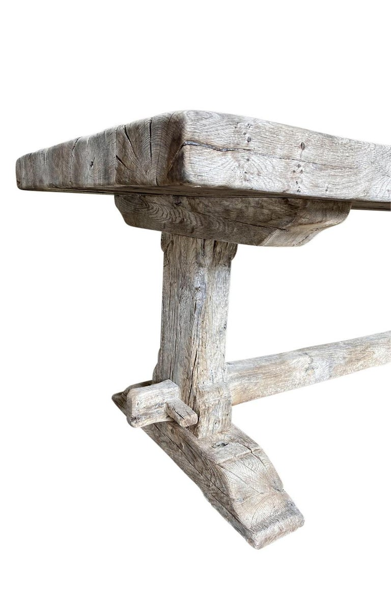 19th Century French Farm Table, Trestle Table For Sale 3