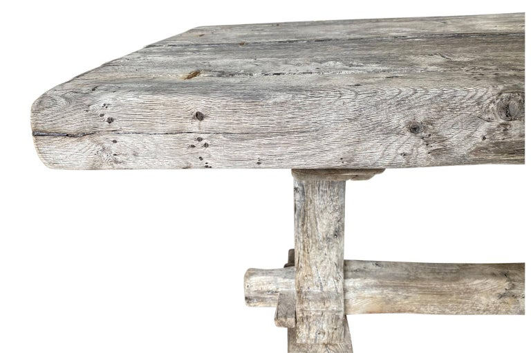 19th Century French Farm Table, Trestle Table For Sale 5