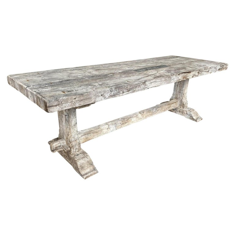 19th Century French Farm Table, Trestle Table For Sale