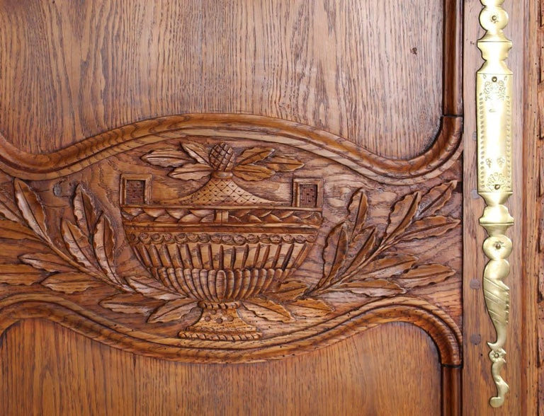 Hand-Carved 19th Century French Farmhouse Armoire, Normandy Cupboard, Solid Oakwood For Sale