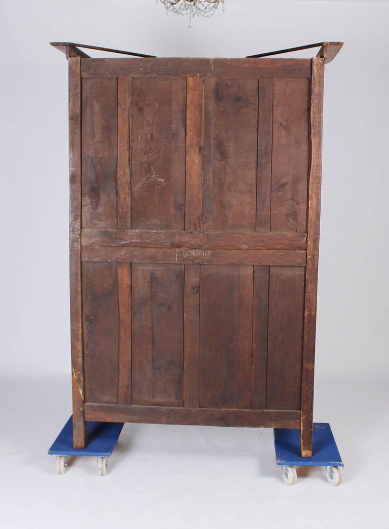 19th Century French Farmhouse Armoire, Normandy Cupboard, Solid Oakwood For Sale 1