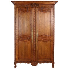 19th Century French Farmhouse Armoire, Normandy Cupboard, Solid Oakwood