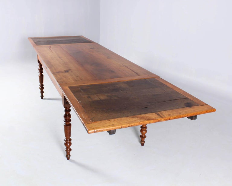 19th Century French Farmhouse or Country House Table, Solid Cherry, circa 1850 6