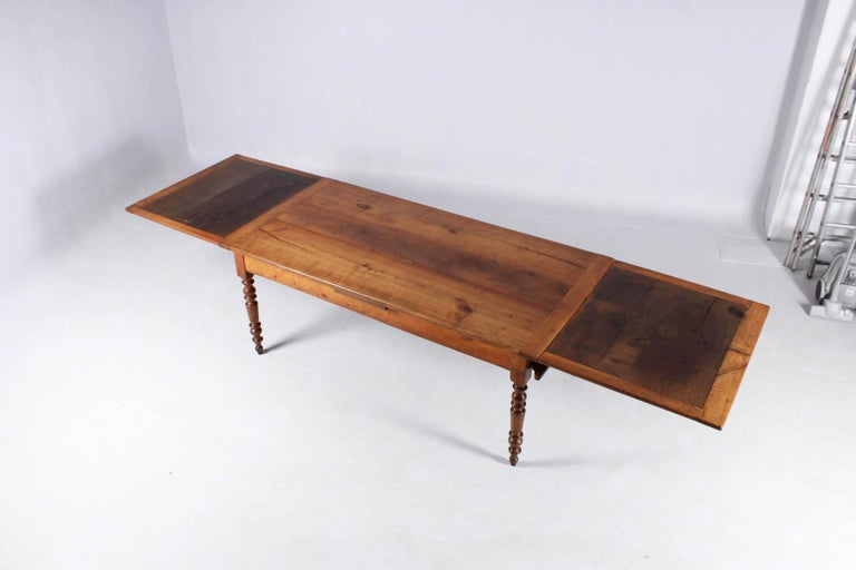 19th Century French Farmhouse or Country House Table, Solid Cherry, circa 1850 11