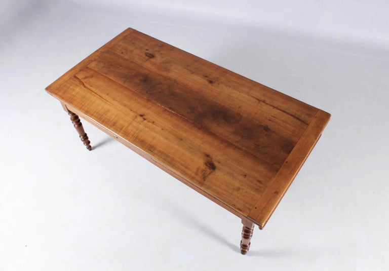 19th Century French Farmhouse or Country House Table, Solid Cherry, circa 1850 4