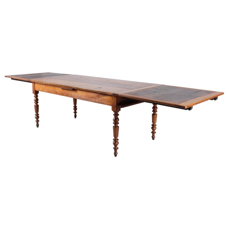 19th Century French Farmhouse or Country House Table, Solid Cherry, circa 1850