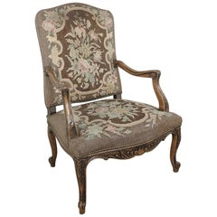 19th Century French Fauteuil ~ Armchair with Tapestry