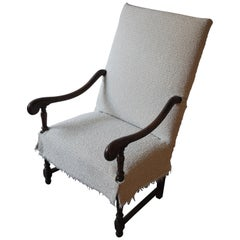19th Century French Fauteuil Walnut Armchair with Textual Slip Cover