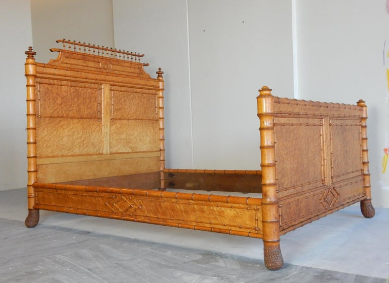 19th Century French Faux Bamboo and Maple Burl Queen Bed For Sale 8