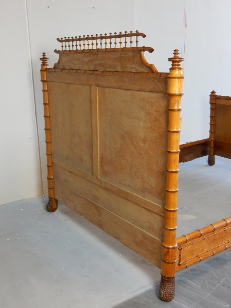 19th Century French Faux Bamboo and Maple Burl Queen Bed For Sale 9