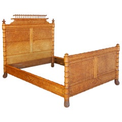 19th Century French Faux Bamboo and Maple Burl Queen Bed