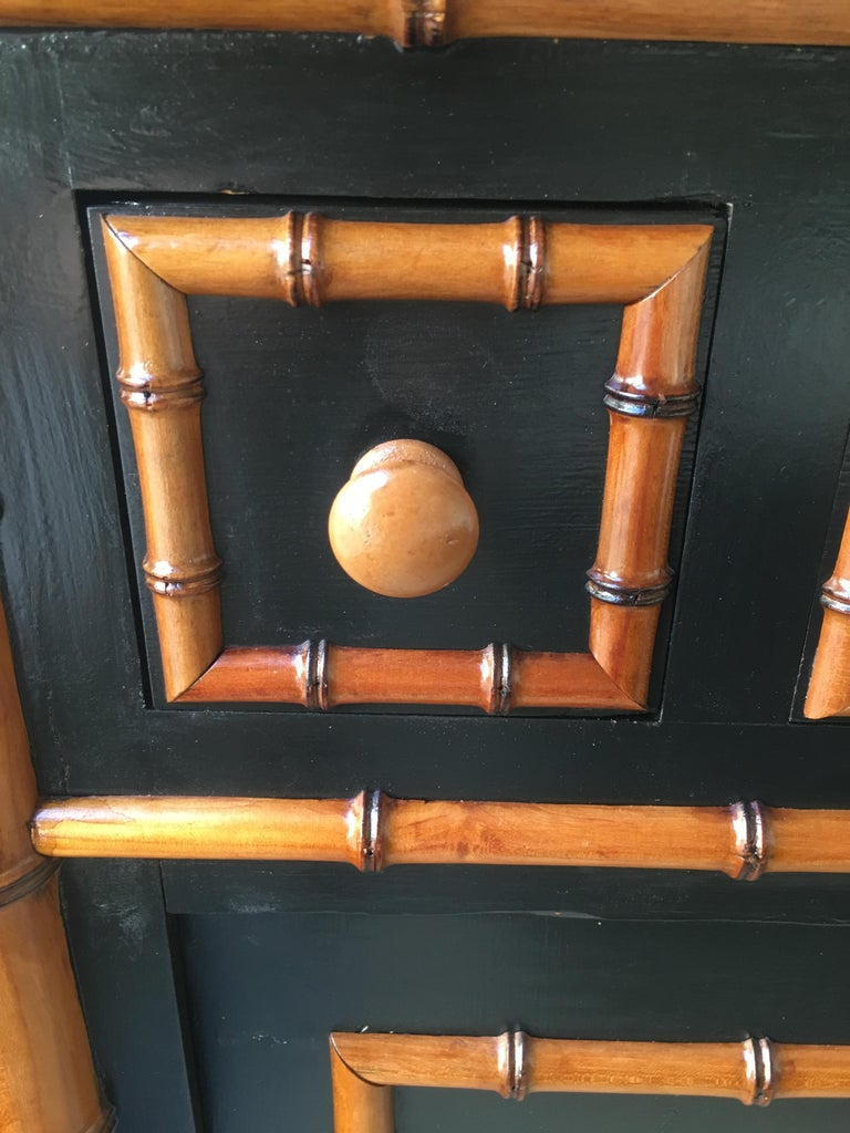 19th Century French Faux Bamboo Cupboard Sink with Marble and Ceramic, 1890s For Sale 11