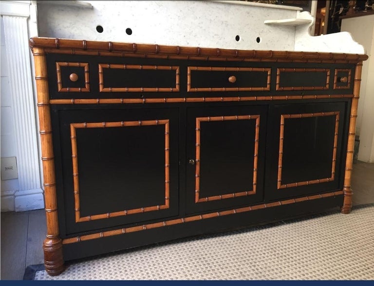 Lacquered 19th Century French Faux Bamboo Cupboard Sink with Marble and Ceramic, 1890s For Sale