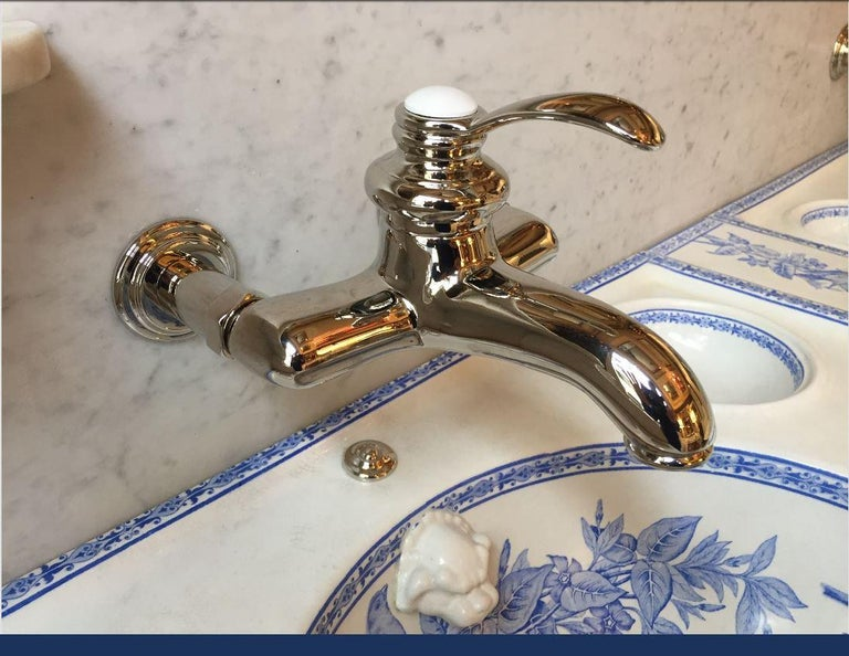 19th Century French Faux Bamboo Cupboard Sink with Marble and Ceramic, 1890s For Sale 3