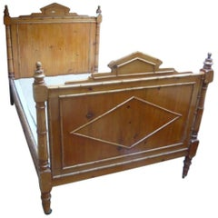 19th Century French Faux-Bamboo Double Bed from 1880s