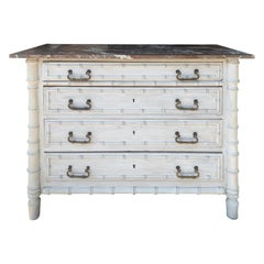 19th Century French Faux Bamboo Four-Drawer Chest with Marble Top