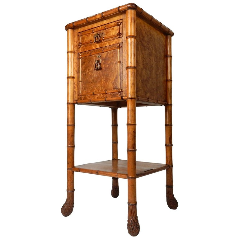 19th Century French, Faux Bamboo, Marble and Bird's-Eye Maple Wash Stand Table For Sale