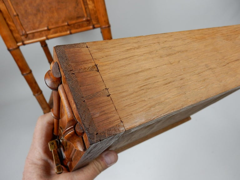 19th Century French, Faux Bamboo, Marble and Bird's-Eye Maple Wash Stand Table For Sale 6