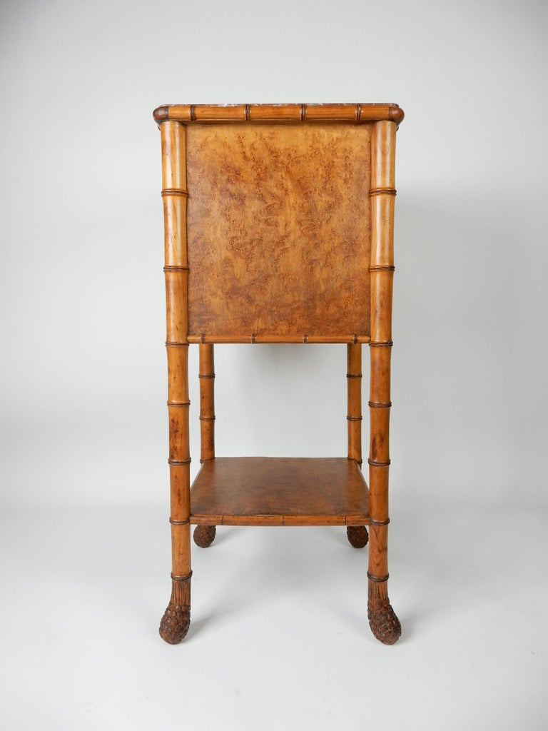 19th Century French, Faux Bamboo, Marble and Bird's-Eye Maple Wash Stand Table For Sale 7
