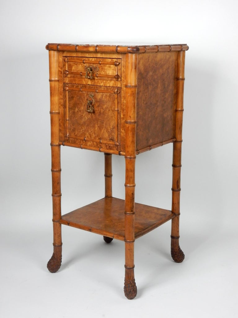 19th Century French, Faux Bamboo, Marble and Bird's-Eye Maple Wash Stand Table For Sale 10