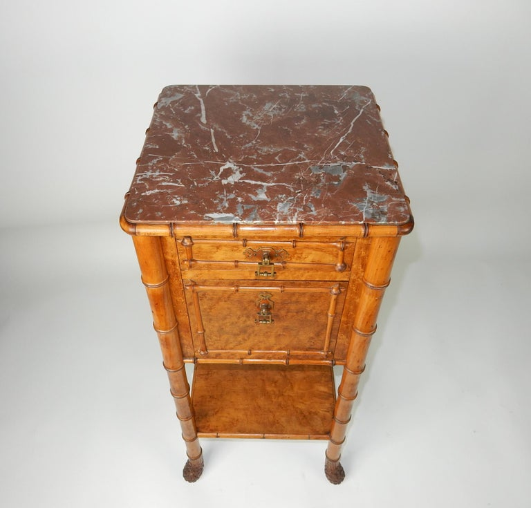 Aesthetic Movement 19th Century French, Faux Bamboo, Marble and Bird's-Eye Maple Wash Stand Table For Sale