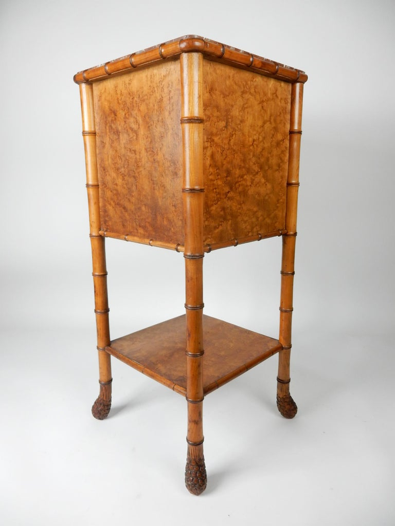 19th Century French, Faux Bamboo, Marble and Bird's-Eye Maple Wash Stand Table In Good Condition For Sale In Las Vegas, NV