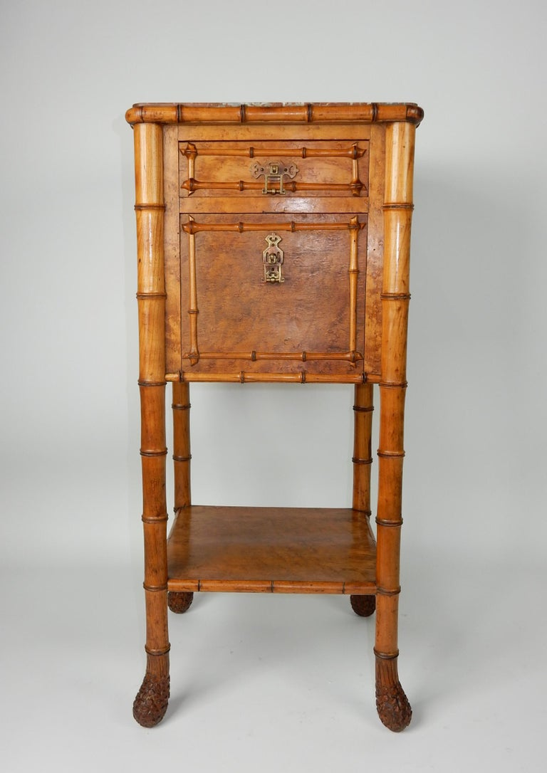 19th Century French, Faux Bamboo, Marble and Bird's-Eye Maple Wash Stand Table For Sale 2