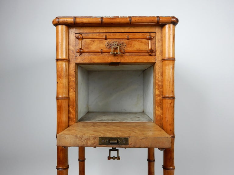 19th Century French, Faux Bamboo, Marble and Bird's-Eye Maple Wash Stand Table For Sale 3