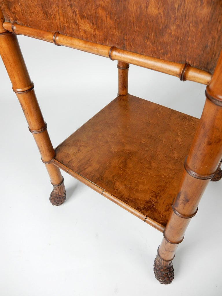 19th Century French, Faux Bamboo, Marble and Bird's-Eye Maple Wash Stand Table For Sale 5
