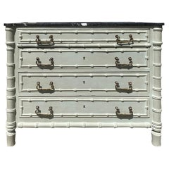 19th Century French Faux Bamboo Painted Four-Drawer Chest Black Honed Marble Top