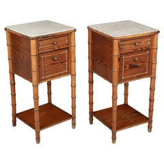 19th Century French Faux Bamboo Side Tables, a Pair