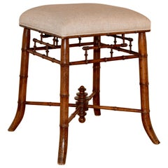 19th Century French Faux Bamboo Stool
