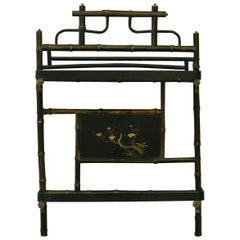 19th Century French Faux Bamboo Wood and Lacquer Shelf