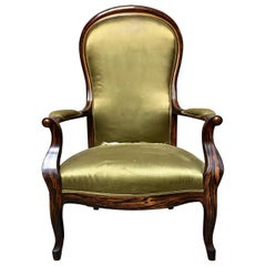 19th Century French Faux Rosewood Voltaire Chair