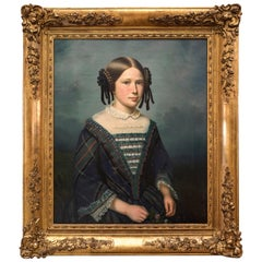19th Century French Female Portrait Oil on Canvas, 1852, Dedôme
