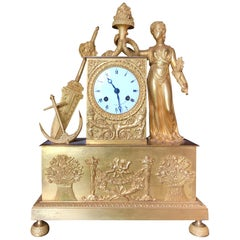 19th Century French Figural Mantel Clock, Maritime Theme